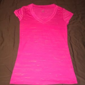 XS hot pink T-shirt with gold accents